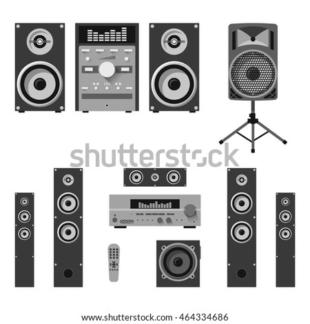 Set of audio and music systems icons. Loudspeakers isolated on white background.