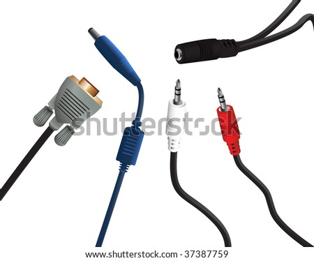 Set of audio and video electronic plugs. - stock photo