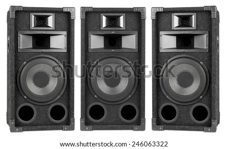 set of audio speakers from different angles - stock photo
