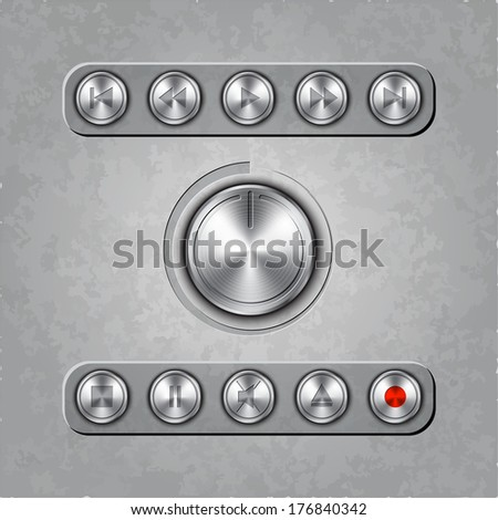 set of audio system knobs on textured background