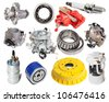 Set of auto parts. Isolated on white background - stock photo
