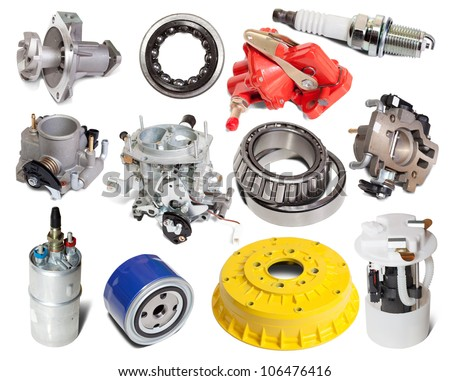 Set of auto parts. Isolated on white background - stock photo