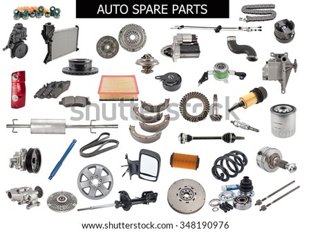 Set of auto spare parts  - stock photo