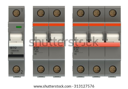 Set of automatic electricity switches isolated on white background - stock photo