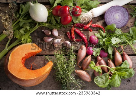 set of autumn flavors, for seasoning the soup - stock photo