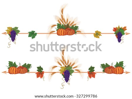set of autumnal  borders with pumpkins - stock photo
