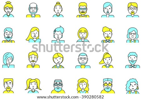 Set of avatars. Flat style. Line colorful icons collection of people for profile page, social network, social media, website and mobile website apps. different age, professional human occupation. - stock photo