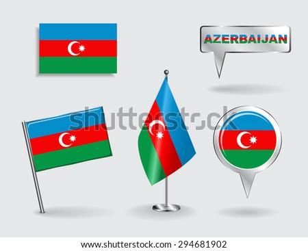 Set of Azerbaijani pin, icon and map pointer flags. Raster version - stock photo