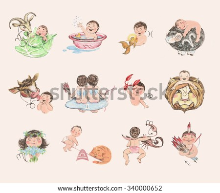 Set of baby-zodiac signs. Cute hand-drown illustration in pastel colors. - stock photo