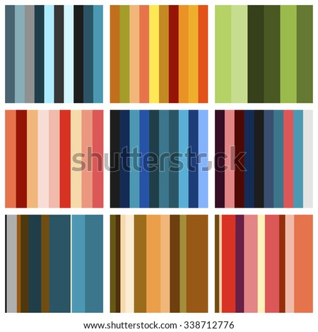Set of background pattern with multicolored stripes