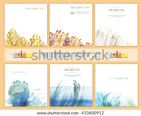 Set of backgrounds for book design, advertising module, corporate identity, business card. On the basis of watercolor sketches of grass, algae and trees. - stock photo