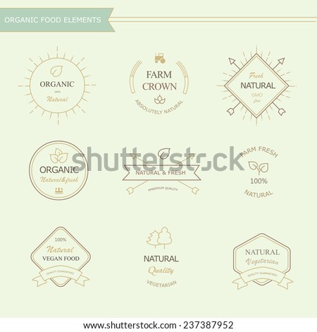 Set of badges and labels  elements for organic natural food and drink - stock photo
