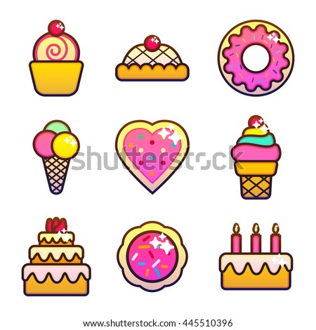 Set of bakery, pastry and sweets icons isolated on white background. Bread, donut, cake, candy, cupcake.