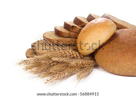 set of bakery products on white - stock photo