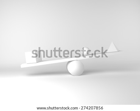 Set of balanced figures, cub, piramid, sphere - stock photo