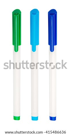 set of ballpoint pens. isolated on white background