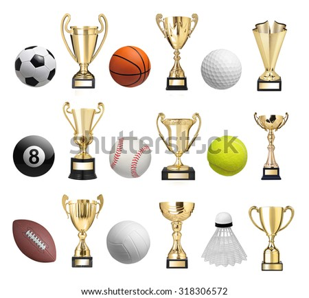 Set of balls and golden trophies - stock photo