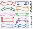 Set of banners and ribbons from paper outline.Raster version - stock photo