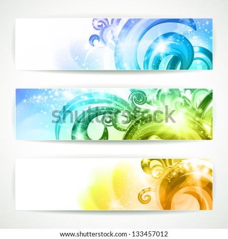 Set of 3 banners with colorful swirls. Raster version of vector. - stock photo