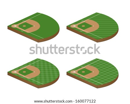 Set of Baseball Fields 3D Perspective - stock photo