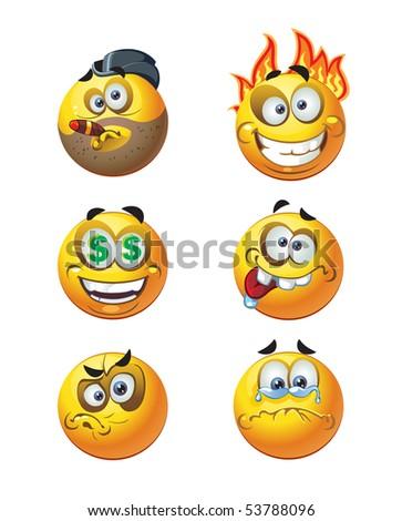 set of batch round smiles. raster version - stock photo