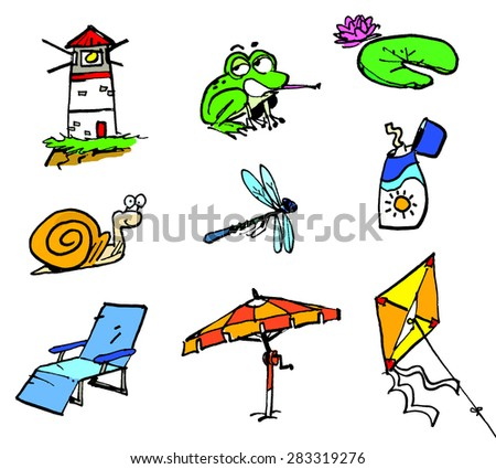 Set of beach icons in a cartoon style. Summertime.  - stock photo