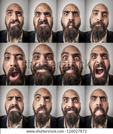 set of bearded man expressions on grey background - stock photo