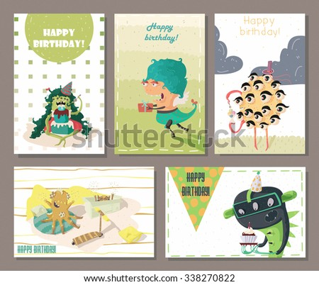 Set of beautiful birthday cards decorated with cartoon monsters, gifts, cakes and sweets. Fun and cute horizontal and vertical composition, scratched, kind, bright raster illustration. - stock photo
