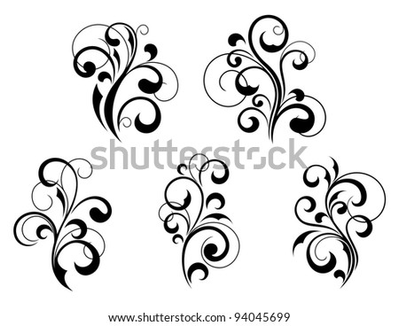 Set of beautiful floral elements and motifs isolated on white background. Vector version also available in gallery