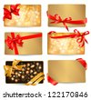 Set of beautiful gif cards with red gift bows with ribbons  Raster version of vector - stock photo