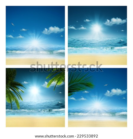 Set of beauty marine backgrounds for your design - stock photo