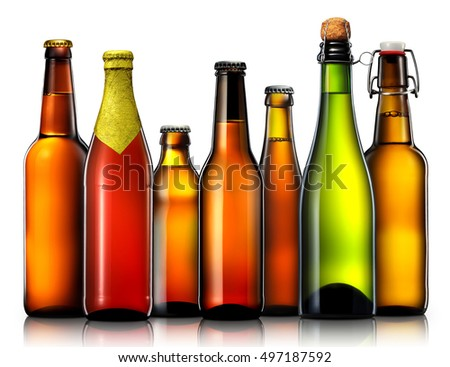 Set of beer bottles with clipping path isolated on black background