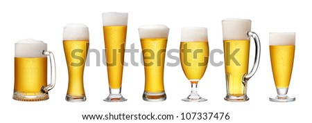 set of beer glass on a white background, - stock photo