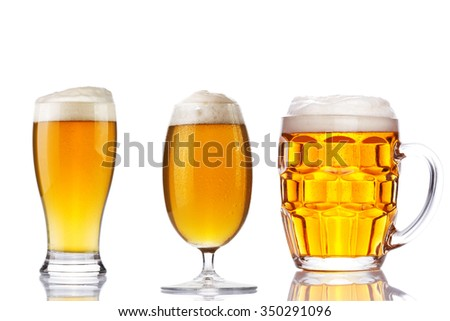 set of beer glass on a white background