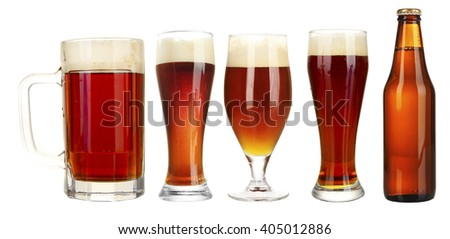 Set of beer glasses and bottle, isolated on white - stock photo