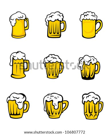 Set of beer glasses with fresh foam for pub design. Vector version also available in gallery - stock photo