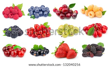 Set of berry on white close up - stock photo