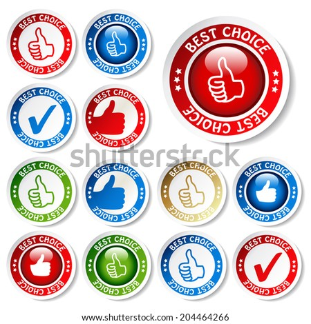 set of best choice stickers - stock photo
