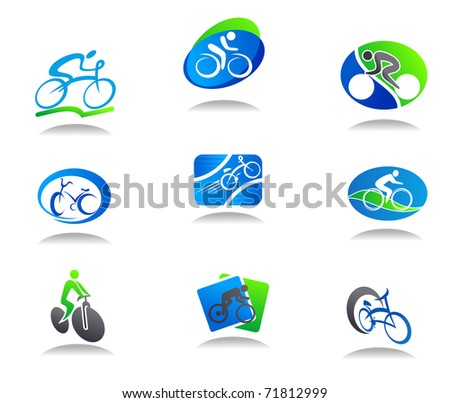 Set of bicycle sport icons for design - also as emblem or template. Vector version also available in gallery - stock photo