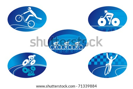 Set of bicycle sport icons for design - also as emblem. Vector version also available in gallery - stock photo