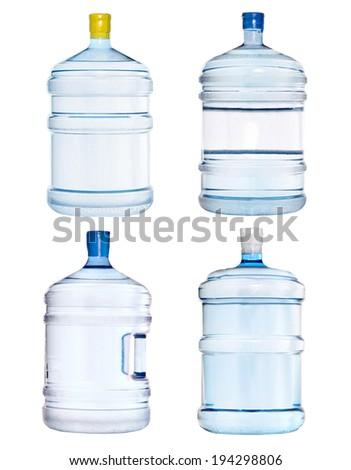 set of big bottles isolated on white  - stock photo
