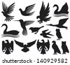 set of birds silhouettes (birds set, hummingbird, dove, sparrow, small bird, owl, swan, stork, eagle, falcon) - stock vector
