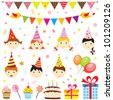 Set of birthday party elements with cute kids. Raster version - stock photo