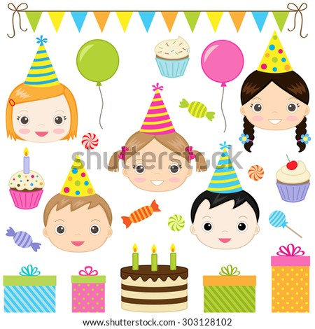 Set of birthday party elements with kids. Raster version - stock photo