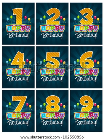 Set of birthday party invitation cards with numbers - stock photo