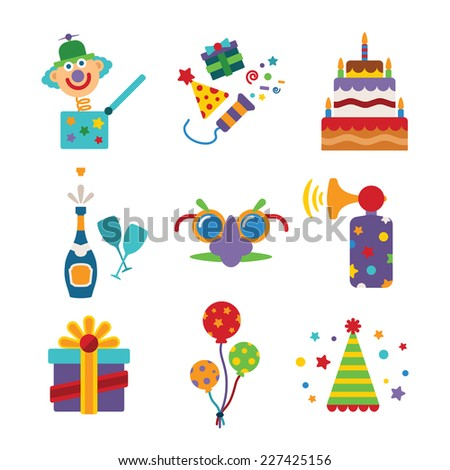 Set of bitmap colorful celebration icons in flat style like pie champagne wineglass gift box air balloon funny mask cap and jack in the box - stock photo