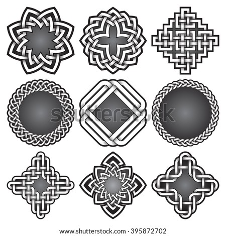 Set of bitmap logo templates and frames in Celtic knots style. Tribal tattoo symbols package. Nine silver ornaments for jewelry design. Monochrome logos design elements. - stock photo