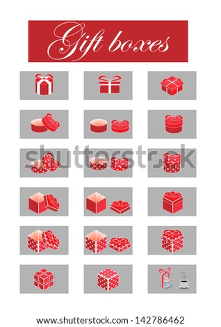 set of black-and-white gift boxes - stock photo