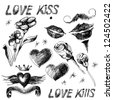 Set of black and white hand drawn Valentine design elements with hearts, flowers and lips. Raster version of the vector image. - stock vector