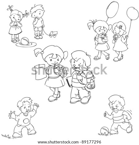 set of black and white, hand-painted children's silhouettes. raster version - stock photo